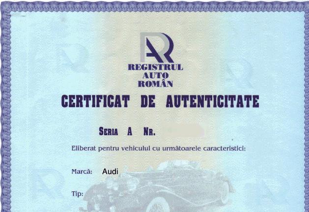 Certificatul de Autencitate RAR nu mai este obligatoriu la inmatriculare