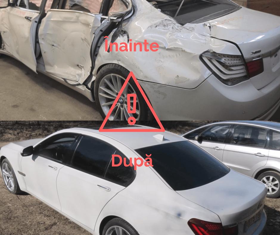 """Epava de BMW Seria 7 reparata """"tzipla"""" pentru amatorii de chilipiruri"""