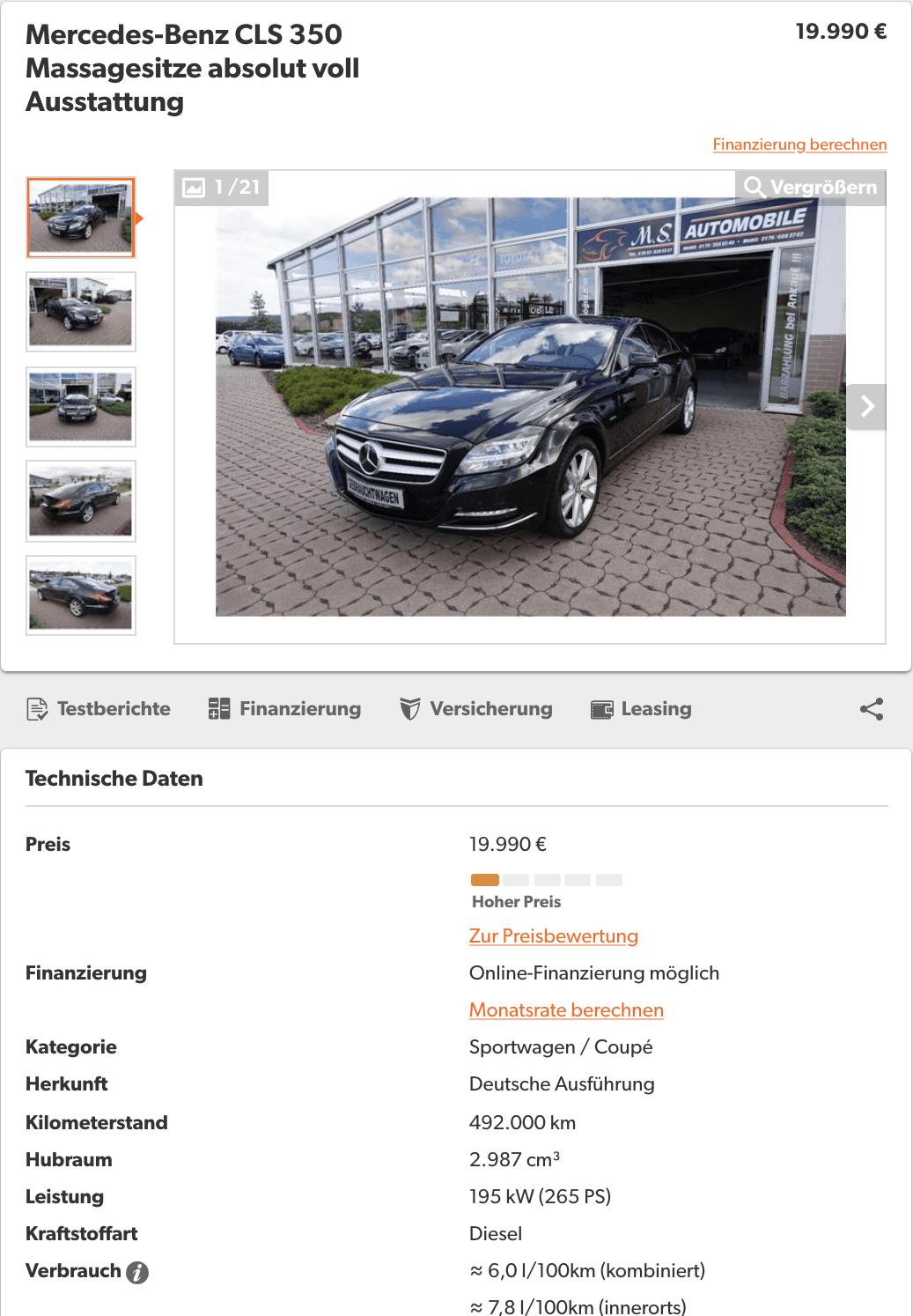Mercedes CLS350 cu 500 000 KM - InspectorAuto.ro