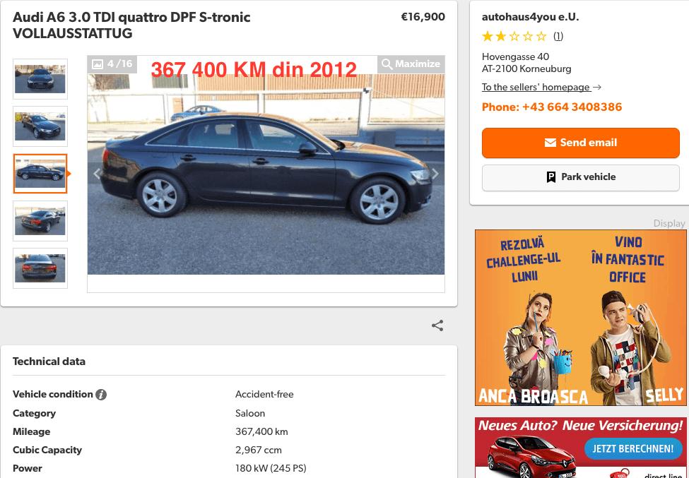 Audi A6 3.0 TDI quattro 367400 KM - InspectorAuto.ro