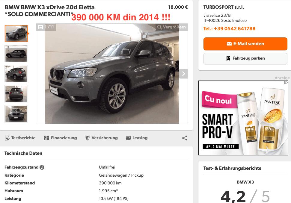 BMW X3 xDrive 20D 390000 KM - InspectorAuto.ro