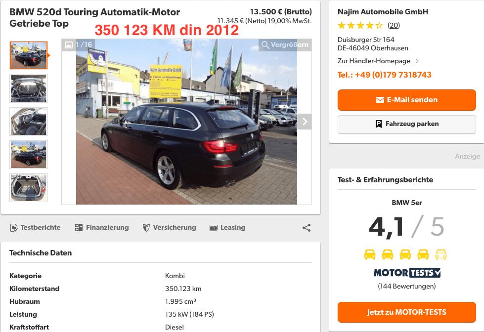 BMW 520D Touring 350123 KM - InspectorAuto.ro