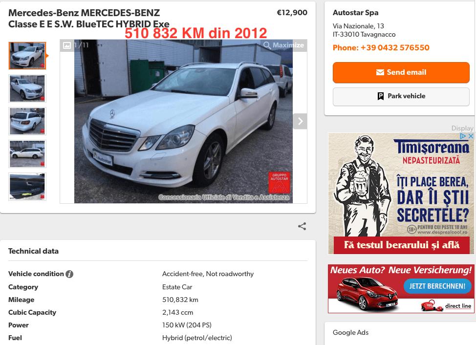 Mercedes-Benz E Classe 510832KM - InspectorAuto.ro