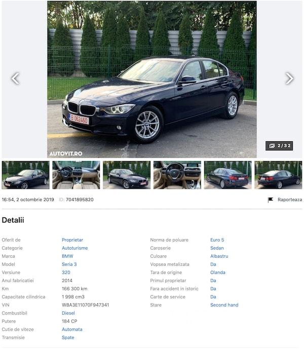 BMW 320D wba3e11070f947341 kilometri