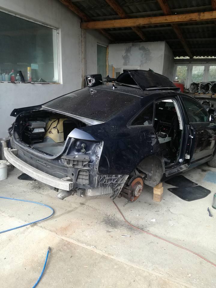 Audi A6 avariat care urmeaza sa fie taiat de la jumtate