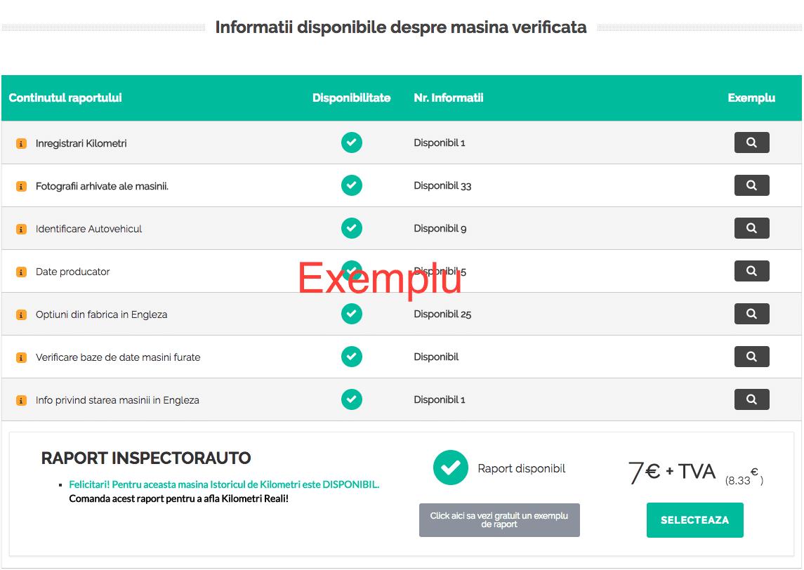 date disponibile raport inspectorauto.ro - verificare kilometri