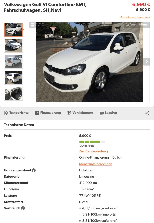 VW Golf VI 412 00 KM - InspectorAuto
