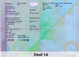 Deel 1A Olanda Certificat de inmatriculare