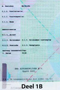 Deel 1B din Olanda Certificat de inmatriculare