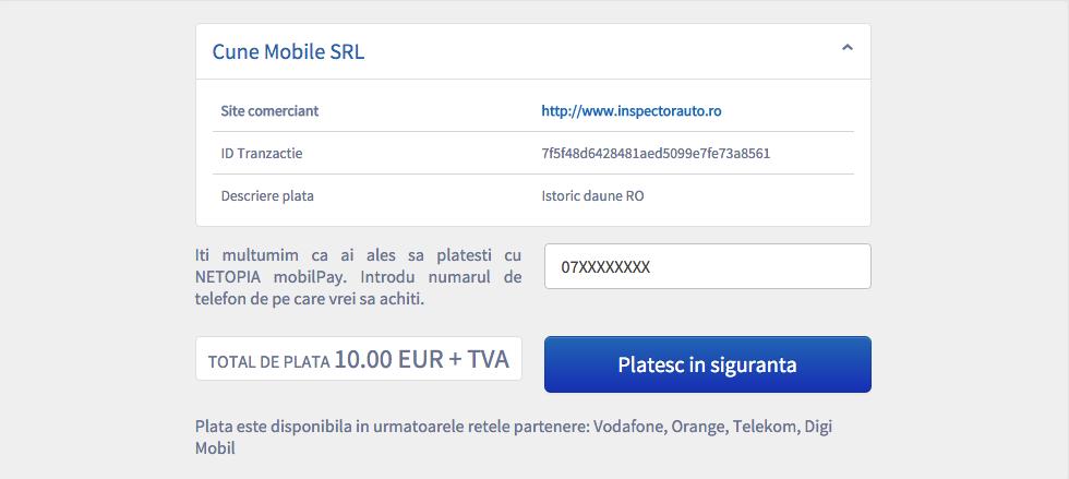 plata prin SMS pe inspectorauto.ro